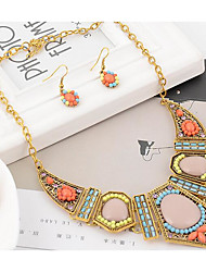 cheap -Women's Bib Jewelry Set - Resin, Rhinestone Bohemian, Africa, Colorful Include Statement Necklace / Dangle Earrings Rainbow For Party / Vacation