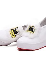 Недорогие -Жен. Обувь Наппа Leather Весна Удобная обувь На плокой подошве На плоской подошве Круглый носок Пух Белый / Черный