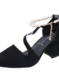 Недорогие -Жен. Обувь Полиуретан Лето С ремешком на лодыжке Обувь на каблуках На толстом каблуке Искусственный жемчуг Черный / Зеленый / Розовый