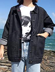 Недорогие -Жен. Пляж Джинсовая куртка Рубашечный воротник Однотонный