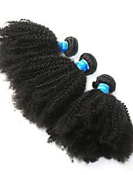 Недорогие -3 Связки Бразильские волосы / Перуанские волосы Афро Квинки Не подвергавшиеся окрашиванию Человека ткет Волосы / Afro Kinky плетенки 8-26 дюймовый Нейтральный Ткет человеческих волос Машинное плетение