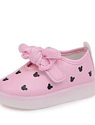 abordables -Fille Chaussures Polyuréthane Printemps été Confort Basket Marche Noeud / LED pour Enfants Blanc / Noir / Rose
