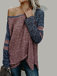 Недорогие -Жен. На выход Длинный рукав Пуловер - Контрастных цветов