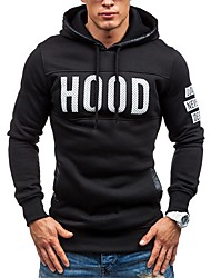 cheap -Men's Basic Hoodie - Solid Colored / Letter, Lace up / Print