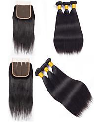 Недорогие -3 комплекта с закрытием Перуанские волосы Прямой Необработанные / Натуральные волосы Подарки / Косплей Костюмы / Человека ткет Волосы 8-20 дюймовый Естественный цвет Ткет человеческих волос 4x4