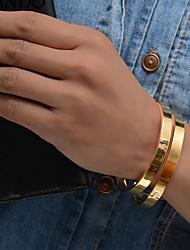 Недорогие -Жен. Скульптура Браслет цельное кольцо Браслет разомкнутое кольцо - Позолота Этнический Браслеты Золотой Назначение Для вечеринок Подарок / 2pcs