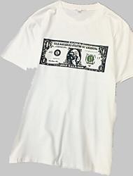 baratos -Mulheres Camiseta Estampado, Sólido / Letra / Retrato