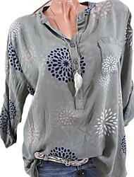 cheap -Women's Basic Shirt - Floral V Neck