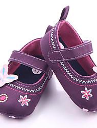 baratos -Para Meninas Sapatos Lona Verão Primeiros Passos Rasos Velcro para Bebê Roxo / Azul