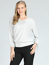 cheap -Suzanne Betro Women's Going out Basic / Street chic Lantern Sleeve Slim Shirt - Solid Colored Lace up V Neck / Low Waist / Long Sleeve