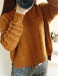 Недорогие -Жен. Повседневные Классический Однотонный Длинный рукав Обычный Пуловер, Круглый вырез Бежевый / Винный / Хаки Один размер