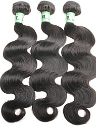 Недорогие -3 Связки Бразильские волосы Естественные кудри Remy One Pack Solution / Плетение 8-30 дюймовый Черный Ткет человеческих волос Натуральный / Свадьба / Для темнокожих женщин