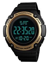 Недорогие -SKMEI Муж. Спортивные часы электронные часы Цифровой 50 m Защита от влаги Календарь Секундомер PU Группа Цифровой На каждый день Мода Черный / Зеленый / Цвет клевера - Зеленый Синий Золотистый