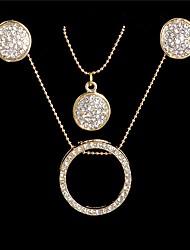 billige -Dame Kvadratisk Zirconium Stilfuldt / Perler Smykkesæt - Simple, Mode, Elegant Omfatte Store øreringe / Halskæde Guld Til Stævnemøde / Arbejde