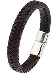 Недорогие -Муж. переплетенный Браслет цельное кольцо Кожаные браслеты - Кожа Классика, Классический, Хип-хоп Браслеты Черный Назначение Для вечеринок Повседневные Спорт