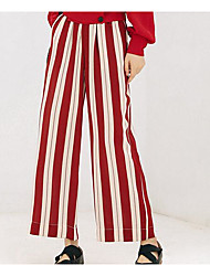 cheap -Women's Chinos Pants - Solid Colored Black & Red, Tassel