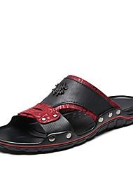 Недорогие -Муж. Наппа Leather Лето Удобная обувь Тапочки и Шлепанцы Черно-белый / Черный / Красный