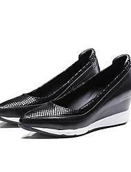 cheap -Women's Nappa Leather Winter Basic Pump Heels Wedge Heel Black / Silver