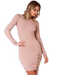 baratos -Mulheres Moda de Rua Bainha Vestido - Cordões Acima do Joelho