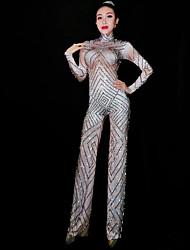 baratos -Fantasia de Dança Roupas de Dança Exótica / Body de Strass Mulheres Espetáculo Elastano Purpurina / Cristal / Strass Manga Longa Natural Collant / Pijama Macacão