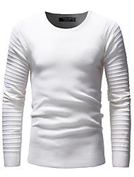 Недорогие -Муж. Длинный рукав Пуловер - Однотонный