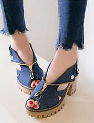 baratos -Mulheres Sapatos Jeans Primavera Verão Inovador Sandálias Salto Robusto Peep Toe Azul Escuro / Azul Claro