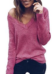 Недорогие -Жен. Активный / Классический Пуловер - Однотонный
