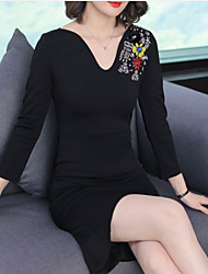 cheap -Women's Elegant Little Black Dress - Geometric Print