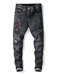 baratos -Homens Moda de Rua Jeans Calças - Floral Preto e Vermelho