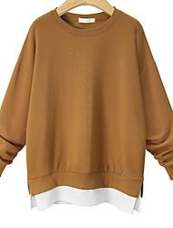 baratos -camisola solta de algodão de manga comprida para senhora - colo em volta de cor sólida