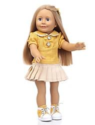 Недорогие -NPKCOLLECTION Модная кукла Девушка из провинции 18 дюймовый Искусственные имплантации Голубые глаза мерцать Детские Девочки Игрушки Подарок