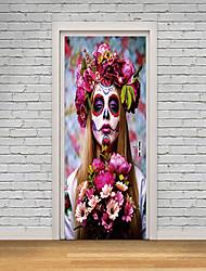 Недорогие -Дверные наклейки - 3D наклейки / Люди стены стикеры Halloween / Цветочные мотивы / ботанический Гостиная / Спальня