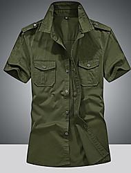 Недорогие -Муж. Рубашка Хлопок Однотонный / С короткими рукавами