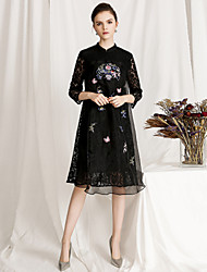 baratos -Mulheres Vintage / Básico Evasê Vestido - Renda / Bordado, Floral Médio