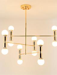 baratos -moderno cluster lustre sala de estar restaurante luzes pingente galvanizado acabamento em ouro 12-luzes
