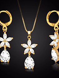 cheap -Women's AAA Cubic Zirconia Link / Chain Jewelry Set - Flower Simple, Dangling Style, Sweet Include Necklace / Earrings Gold For Daily / Date
