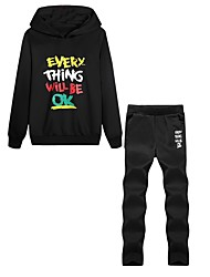 cheap -Men's Patchwork 2pcs Running Shirt With Pants / Tracksuit - Black, Blue Sports Letter Hoodie / Pants / Trousers Gym, Workout Long Sleeve Activewear Lightweight, Soft Micro-elastic