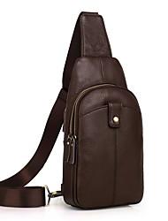 Недорогие -Муж. Мешки Кожа Слинг сумки на ремне Молнии Черный / Кофейный / Коричневый