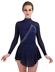 cheap -Figure Skating Dress Girls' Ice Skating Dress Royal Blue / Dark Navy Stretchy Performance / Practise Skating Wear Quick Dry, Anatomic Design Classic / Sexy Long Sleeve Ice Skating / Outdoor Exercise