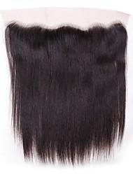 billige -malaysisk hår 4x13 Lukning Lige Schweiziske blonder Menneskehår Dame Bedste kvalitet / 100% Jomfru / Lace Closure Jul / Julegaver / Bryllup
