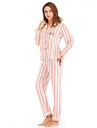 billige -Dame Dyb V Jakkesæt Pyjamas Stribet