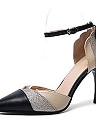 abordables -Femme Polyuréthane Printemps été Bride de Cheville Chaussures à Talons Talon Aiguille Bout pointu Boucle Noir / Vert