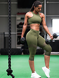 cheap -Women's Racerback Yoga Suit - Army Green Sports Solid Color Mesh High Rise 3/4 Tights / Bra Top Running, Fitness, Gym Sleeveless Activewear Quick Dry, Breathable, Compression High Elasticity