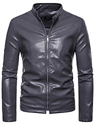 cheap -Men's Leather Jacket - Solid Colored Stand / Long Sleeve