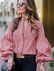 cheap -women's shirt - plaid deep v