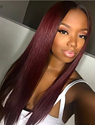 cheap -Remy Human Hair Full Lace Wig Brazilian Hair Silky Straight Wig Layered Haircut 130% Natural Hairline / 100% Hand Tied Burgundy Women's Long Human Hair Lace Wig