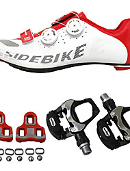 cheap -SIDEBIKE Adults' Cycling Shoes With Pedals & Cleats / Road Bike Shoes Carbon Fiber Cushioning Cycling Red / White Men's