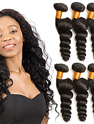 cheap -3 Bundles Indian Hair Loose Wave Human Hair Gifts / Headpiece / Natural Color Hair Weaves / Hair Bulk 8-28 inch Black Natural Color Human Hair Weaves Machine Made Woven / Best Quality / Hot Sale