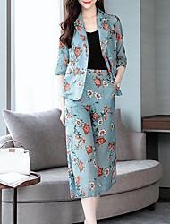 abordables -Mujer Chic de Calle / Sofisticado Conjunto - Floral / A Cuadros, Separado Pantalón