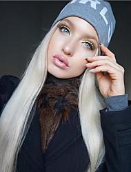 Недорогие -Синтетические кружевные передние парики Прямой Средняя часть Искусственные волосы 22-26 дюймовый Жаропрочная / Женский / Прямой пробор Белый Парик Жен. Длинные Лента спереди Платиновый блондин